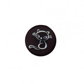 Bouton polyester Petit chaton - noir