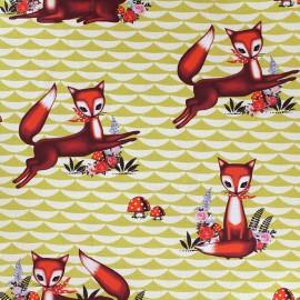 Tissu coton Foxy - tilleul x 21cm