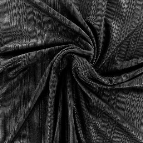 Metallic pleated polyester lycra - black x 10cm