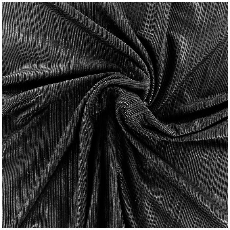 tissu polyester lycra pliss m tallis noir x 10cm ma. Black Bedroom Furniture Sets. Home Design Ideas