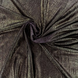 Tissu polyester lycra plissé métallisé - bronze x 10cm