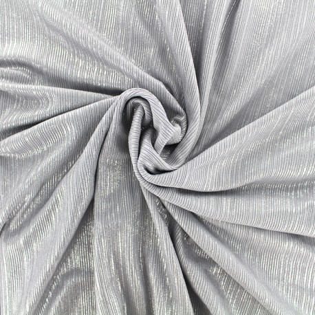 Metallic pleated polyester lycra - silver x 10cm