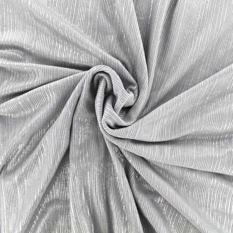 Tissu polyester lycra plissé métallisé - argent x 10cm