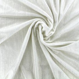 Metallic pleated polyester lycra - ecru x 10cm