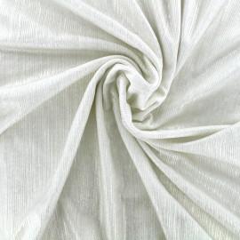 Metallic pleated polyester lycra - ecru x 10cm