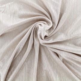 ♥ Coupon tissu 50 cm X 150 cm ♥ polyester lycra plissé métallisé - rose argent