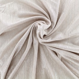 Tissu polyester lycra plissé métallisé - rose argent x 10cm