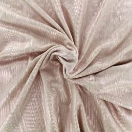 Tissu polyester lycra plissé métallisé - rose x 10cm