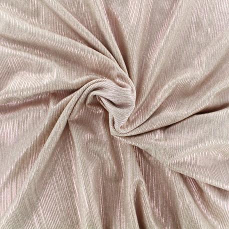 Metallic pleated polyester lycra - pink x 10cm