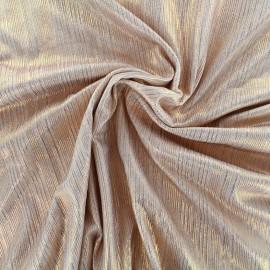 Tissu polyester lycra plissé métallisé - rose cuivré x 10cm