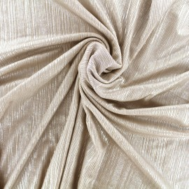 Tissu polyester lycra plissé métallisé - beige argent x 10cm