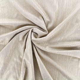 Tissu polyester lycra plissé métallisé - beige doré x 10cm