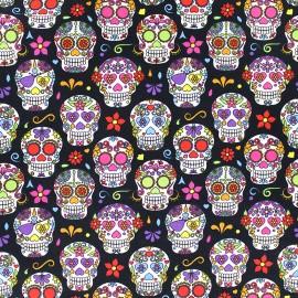 Tissu Poppy Happy skulls - noir x 10cm