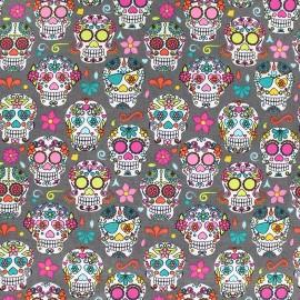 Tissu Poppy Happy skulls - gris x 10cm