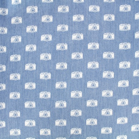Tissu Jeans fluide Photographe - blanc/bleu x 10cm