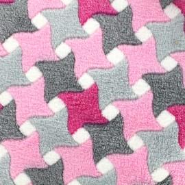 Tissu Doudou Graphik - gris/rose x 10cm