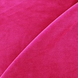 Tissu Velours éponge jersey - framboise x 10cm