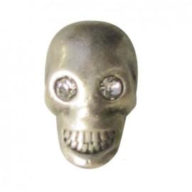 Metal button, skull and rhinestone - silver