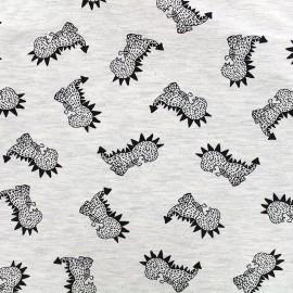 Tissu Jersey Spiky dino - écru x 10 cm