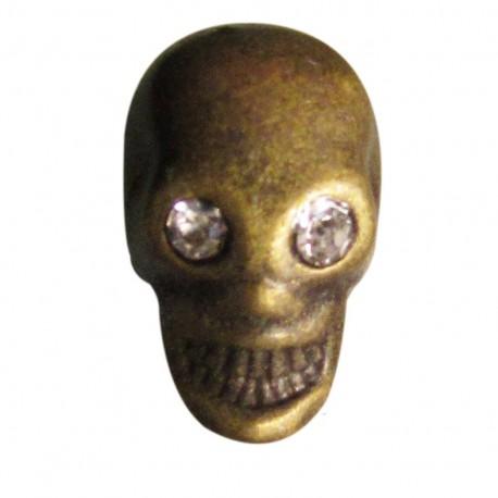 Metal button, skull and rhinestone - antique brass