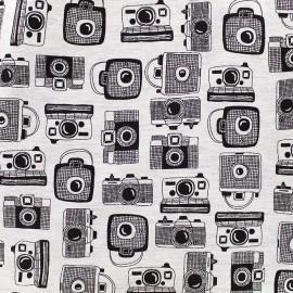 Tissu Jersey Photography - écru chiné x 10 cm