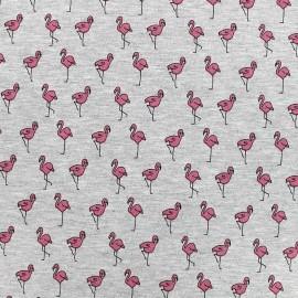 Tissu jersey Poppy Flamingo festival - gris chiné x 10cm
