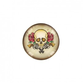Bouton cabochon Old school - skull and gun