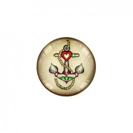 Old school cabochon button - tiny anchor