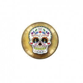 Dia de los muertos cabochon button - yellow sugar skull