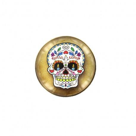Bouton cabochon Dia de los muertos - sugar skull jaune