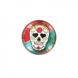 Dia de los muertos cabochon button - red/green sugar skull