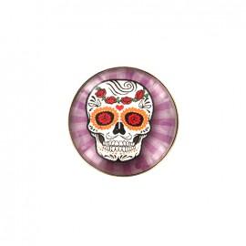 Dia de los muertos cabochon button - purple sugar skull