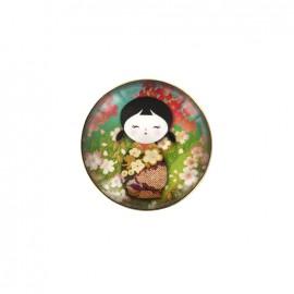 Kokeshi cabochon button - green/jade