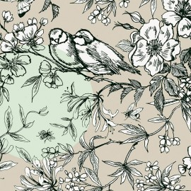 Tissu coton Rico design Oiseau - taupe/menthe x 62cm