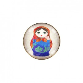 Kokeshi cabochon button - red/blue