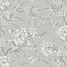 Tissu coton Rico design Fleur de Cerisier - gris x 10cm