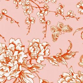Tissu coton Rico design Fleur de Cerisier - rose poudré x 10cm