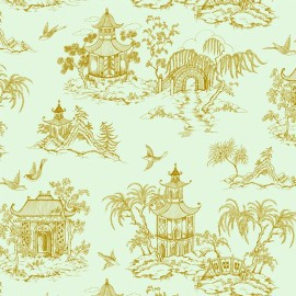 Rico design cotton fabric Maison du Japon - menthe - gold/mint x 10cm