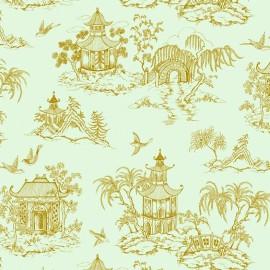 Tissu coton Rico design Maison du Japon - doré/menthe x 10cm