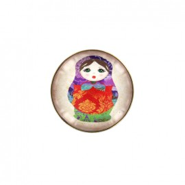 Kokeshi cabochon button - purple/red
