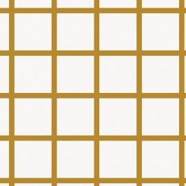 Tissu coton Rico design Grands carreaux - doré/blanc x 10cm