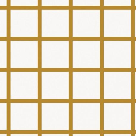 Rico design cotton fabric Grands carreaux - gold/white x 10cm