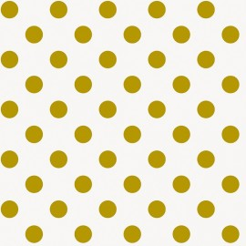Tissu coton Rico design Grands pois - doré/blanc x 10cm
