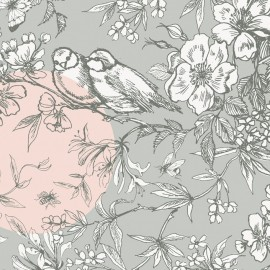 Rico design coated cotton fabric Oiseau - grey/pink x 10cm