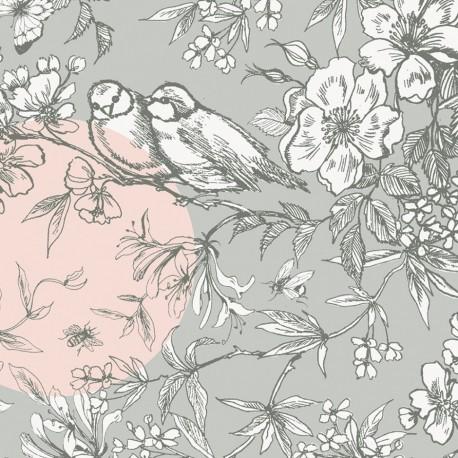 Tissu coton enduit Rico design Oiseau - gris/rose x 10cm