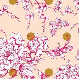 Rico design coated cotton fabric Fleur de cerisier - gold/powder pink x 10cm