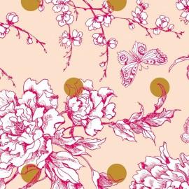 Tissu coton enduit mat Rico design Fleur de cerisier - or/rose poudré x 10cm
