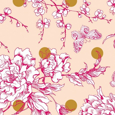 Rico design coated cotton fabric Fleur de cerisier - gold/powder pink x 10cm