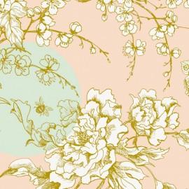 Tissu coton enduit Rico design Fleur de cerisier - menthe/rose poudré x 10cm