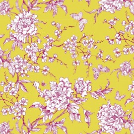 Rico design coated cotton fabric Fleur de cerisier - anise x 10cm